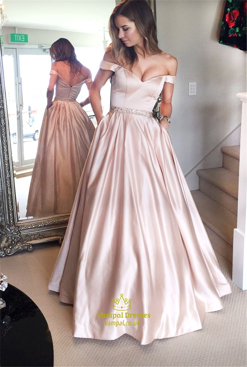 Pink Off The Shoulder Formal Long Ball Gown Dresses With Pockets ...