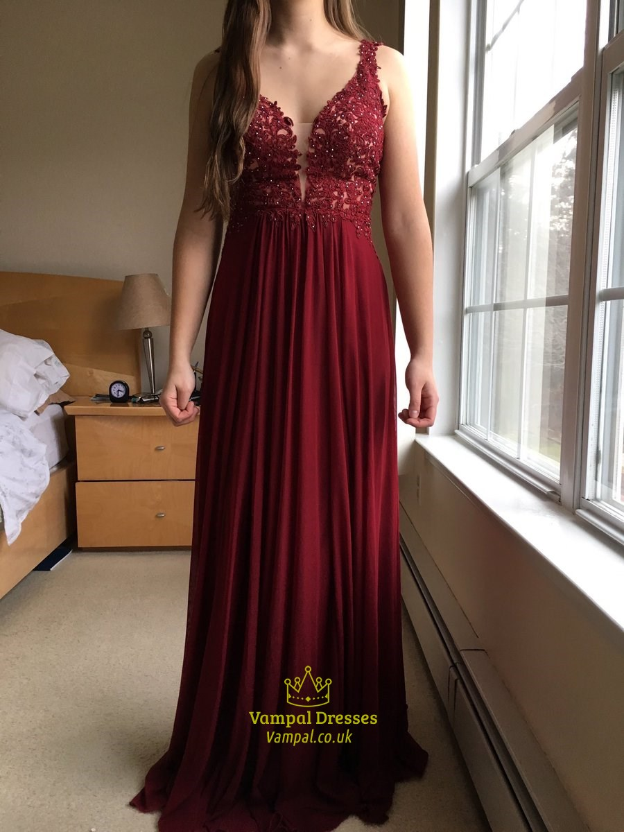 Burgundy V Neck Lace Bodice Chiffon Bottom Long Bridesmaid