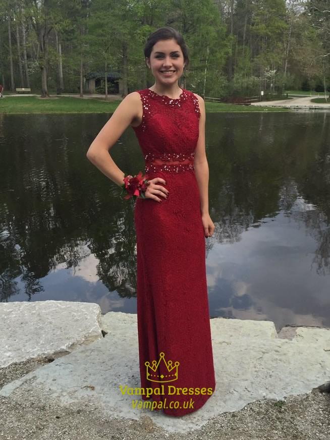 Burgundy Beaded Lace Embellished Floor Length Formal Dress Vampal