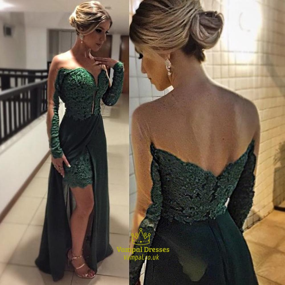 ba64cd6500 Emerald Green Sheer Long Sleeve Lace Prom Dress With Chiffon Overlay ...