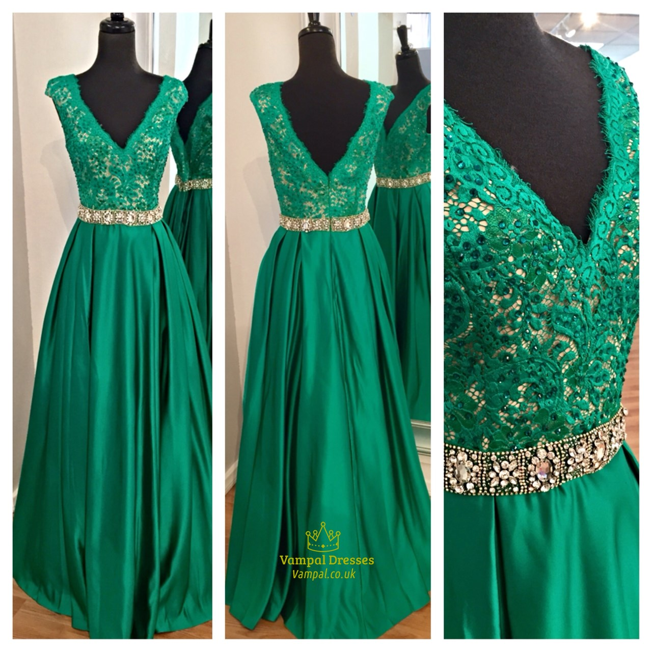 Emerald Green Lace Bodice Cap Sleeve Backless Floor Length Formal ...