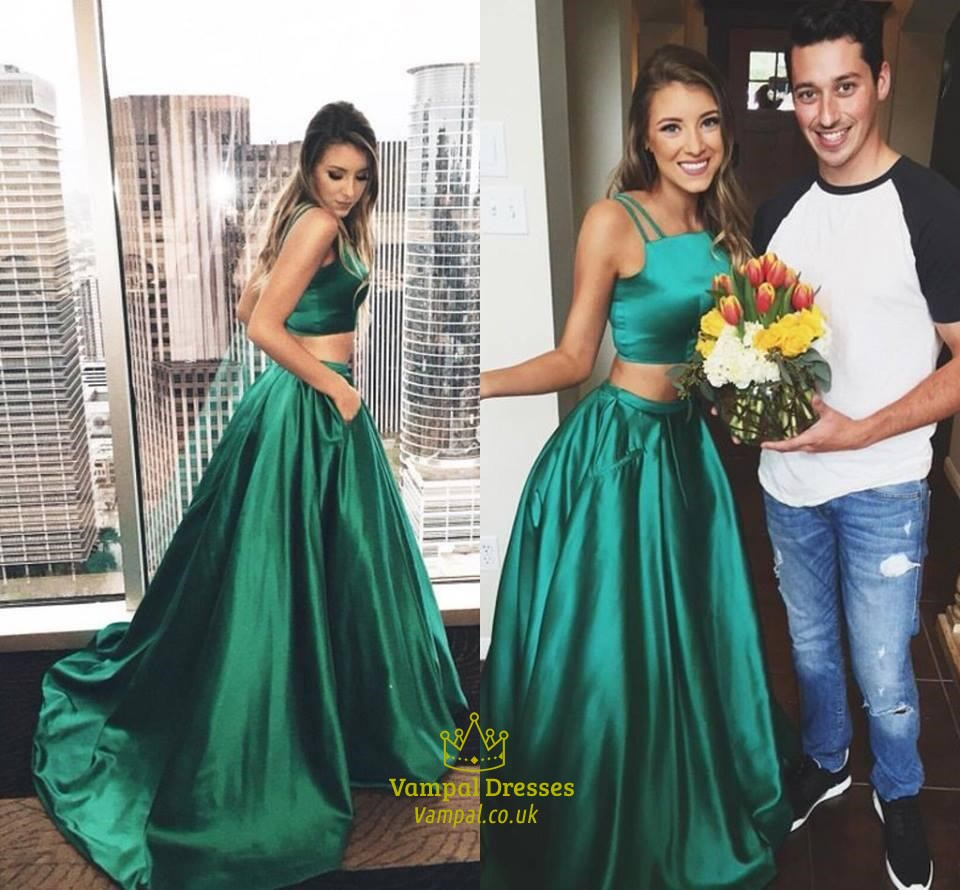Emerald Green Two Piece Spaghetti Strap Floor Length Prom Dress ...