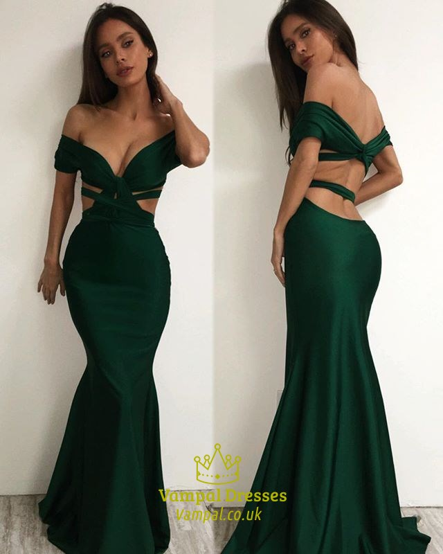 a93ad9c6d9 Emerald Green Off The Shoulder Backless Mermaid Floor Length Dress SKU  -FS1769
