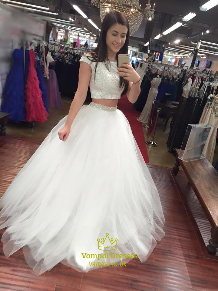 White Short Sleeve Two Piece Sequin Embellished Tulle Ball Gown ...