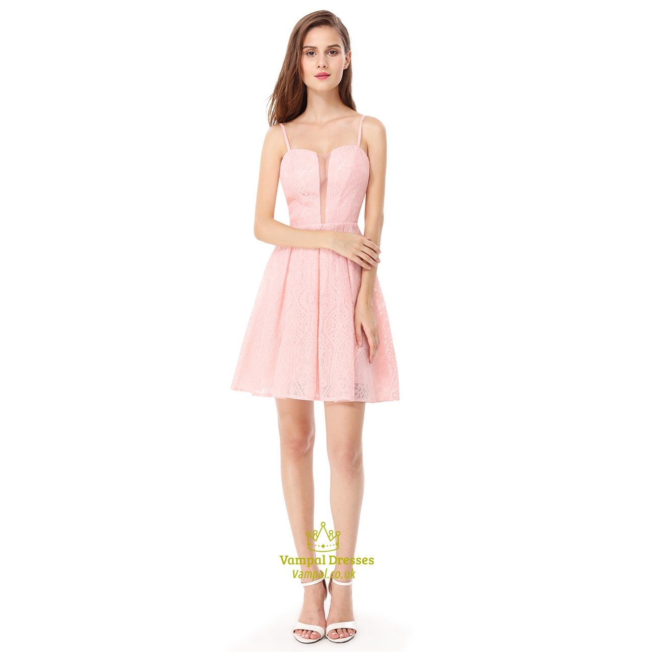 4872f5846ce Pink Spaghetti Strap Short Lace Fit And Flare Dress With Sheer Front SKU  -FS1795