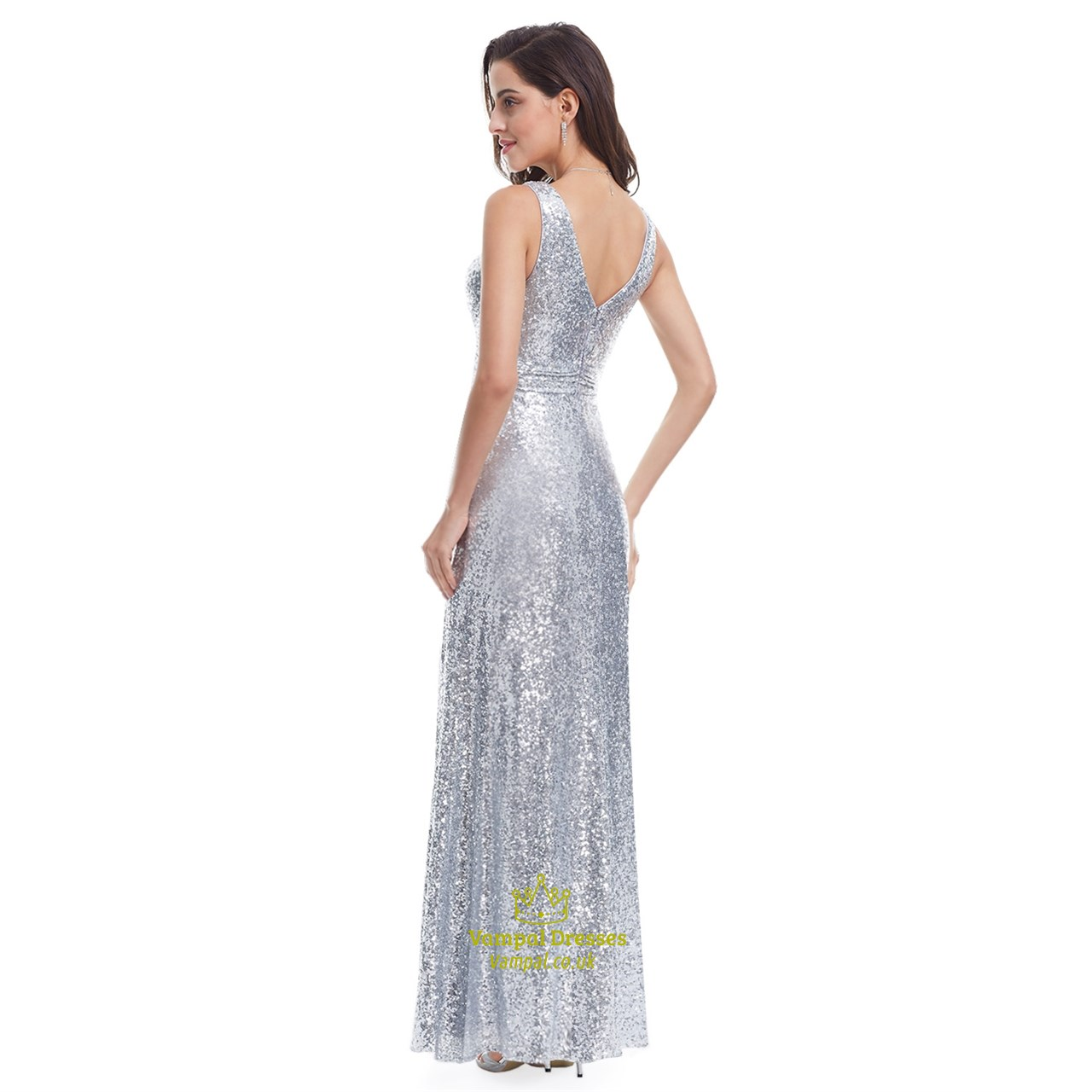 Silver V Neck Sleeveless Ruched Sequin Floor Length Formal