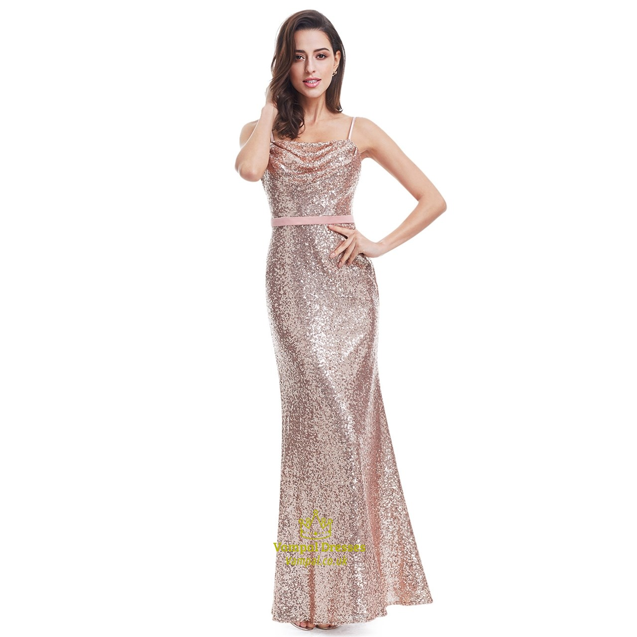 Pink Spaghetti Strap Sequin Backless Sparkly Long Formal