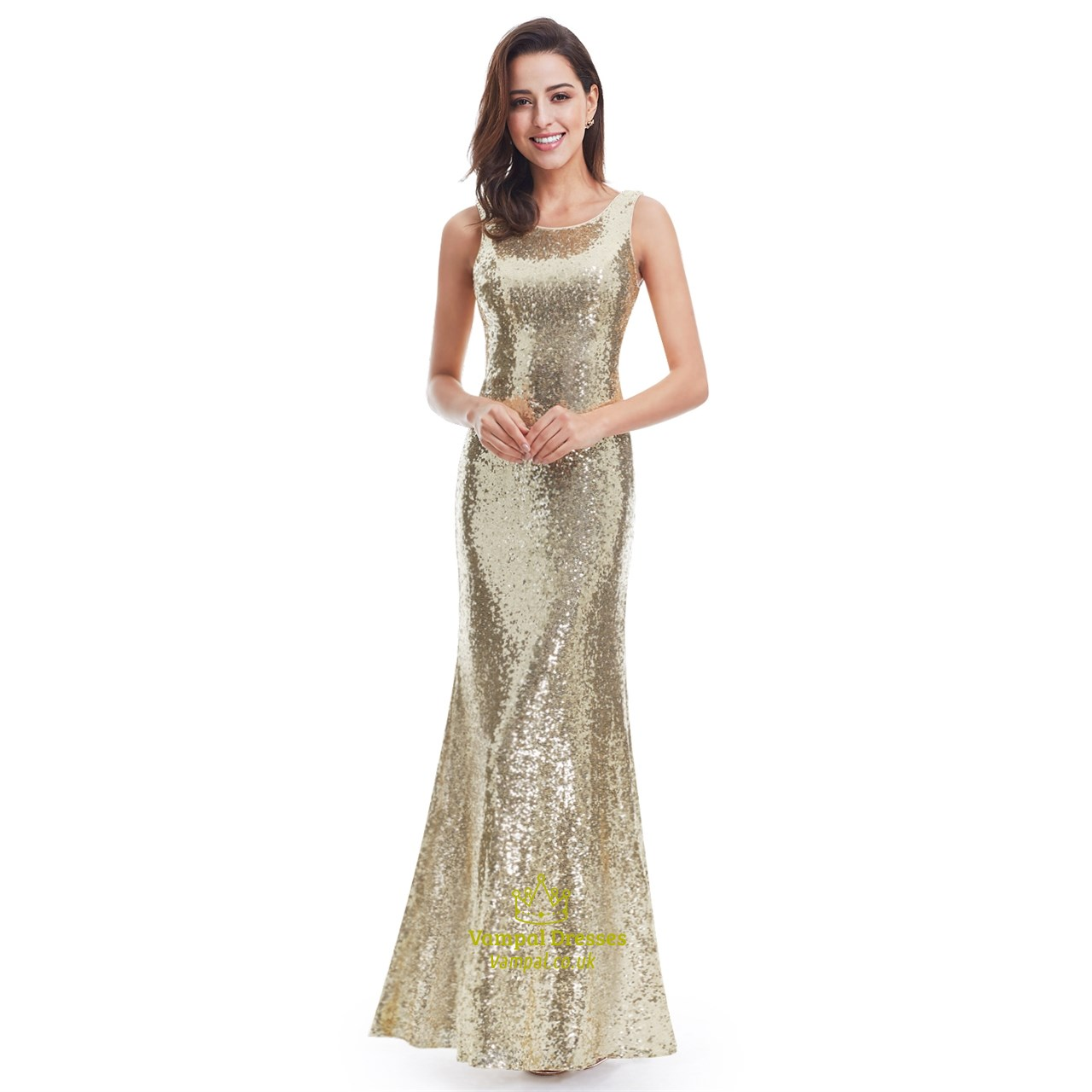 Gold Sequin Embellished Sleeveless Open Back Long Mermaid Formal ...