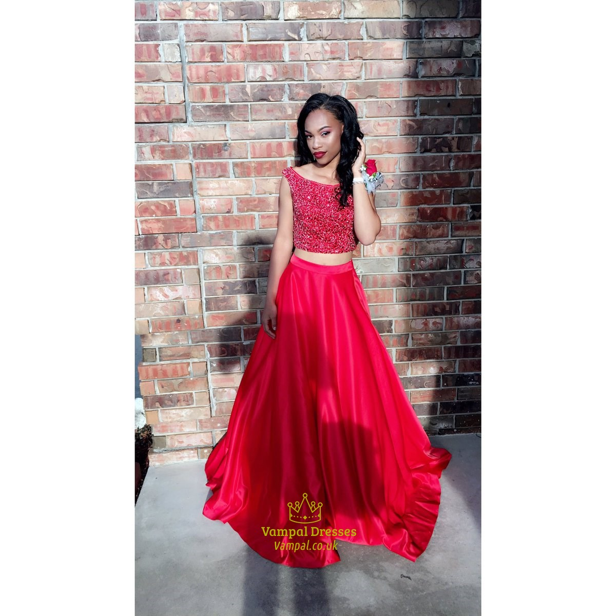 Red Two Piece Beaded Top Cap Sleeve Full Length Formal