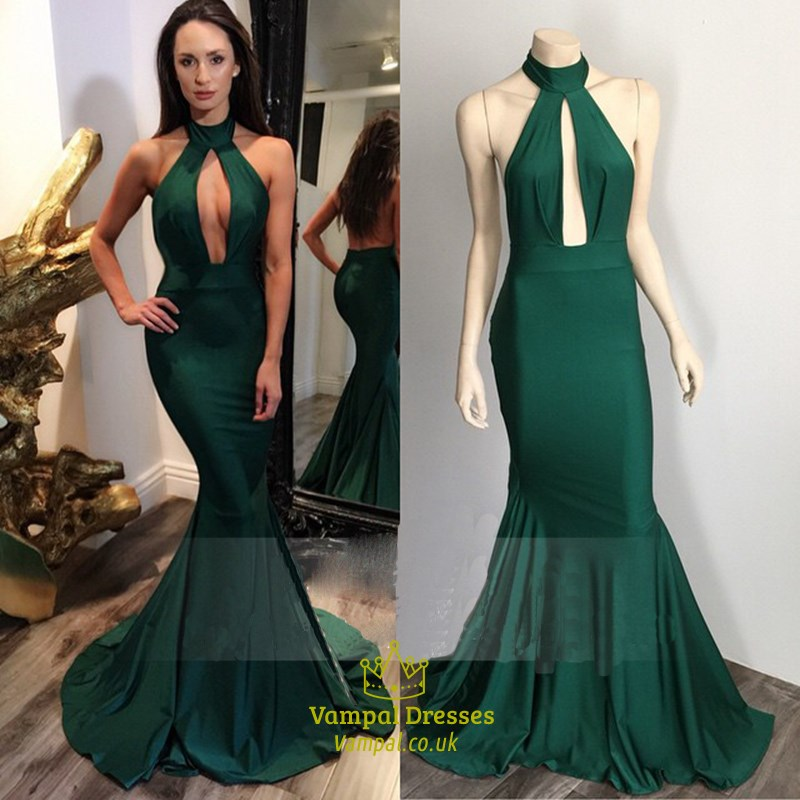 c70cec7c473 Emerald Green High Neckline Mermaid Prom Dress With Keyhole Front SKU  -FS1815