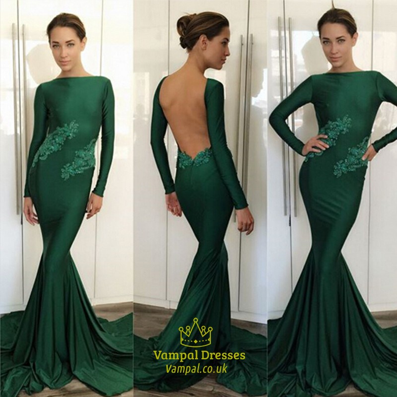 bab32c002 Emerald Green Lace Embellished Long Sleeve Backless Formal Dress SKU -FS1816