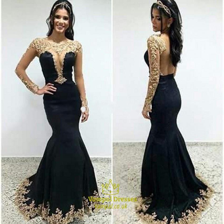 34fe385f67b4 Black Sheer Long Sleeve Open Back Lace Applique Mermaid Formal Dress SKU  -FS1823