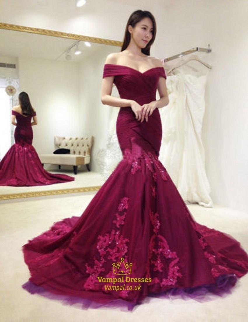 69b104888259 Burgundy Off The Shoulder Lace Embellished Mermaid Formal Dress SKU -FS1834