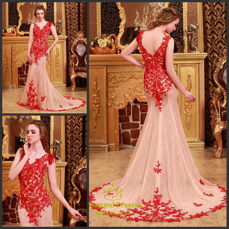 V Neck Red Lace Applique Sheer Back Mermaid Prom Dress With