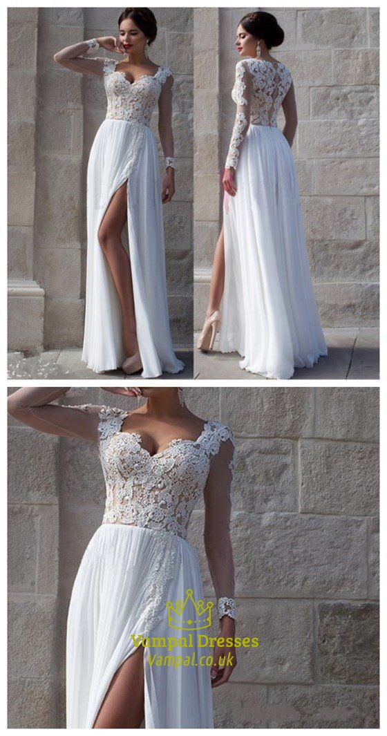 Ivory Sheer Long Sleeve Lace Bodice Long Formal Dress With Slits