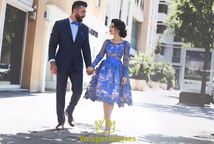 Royal blue sheer lace applique long sleeve knee length prom dress