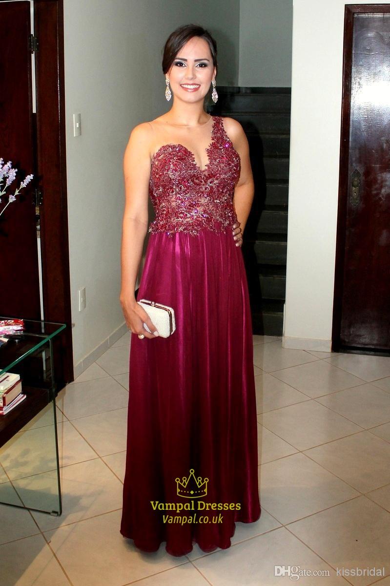 Burgundy Lace Bodice Sheer Back Floor Length A Line Formal Dresses ...