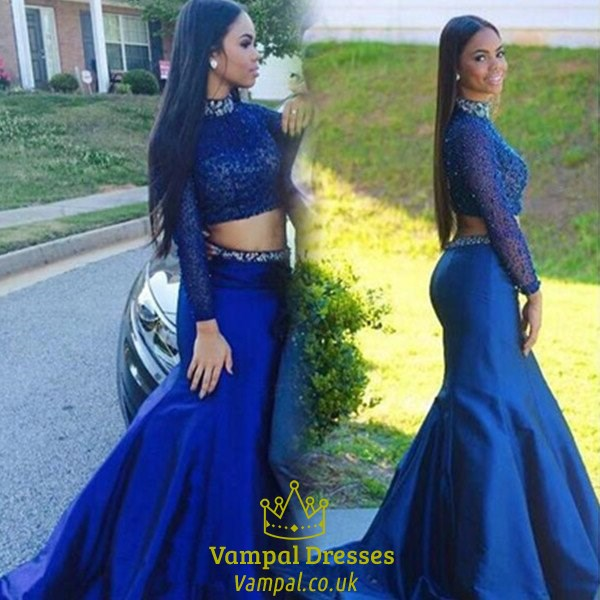 ab1003fc35ec Royal Blue Two Piece High Neck Long Sleeve Lace Top Mermaid Prom Dress