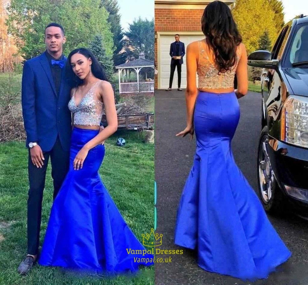 Royal Blue Two Piece Beaded V Neck Illusion Long Formal