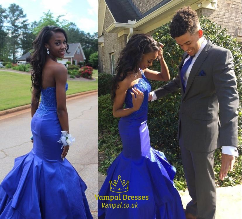 Royal Blue One Shoulder Embellished Long Chiffon Mermaid Prom ...