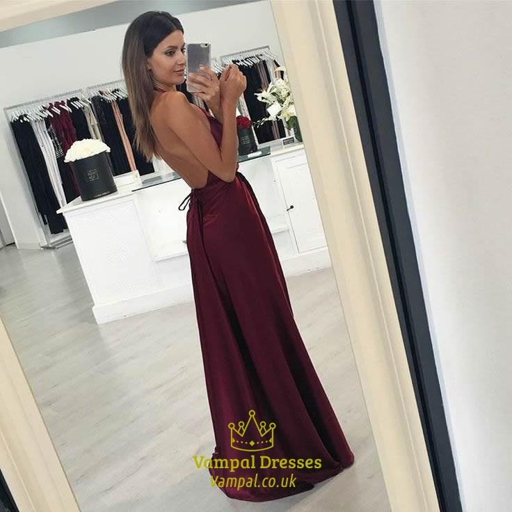 Burgundy Halter Sleeveless V-Neck Backless Side Cut-Out Prom Dress ...