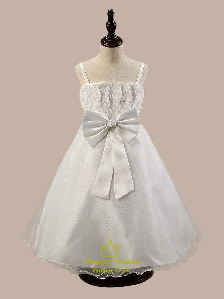 White A Line Knee Length Flower Girl Dress With Flowers