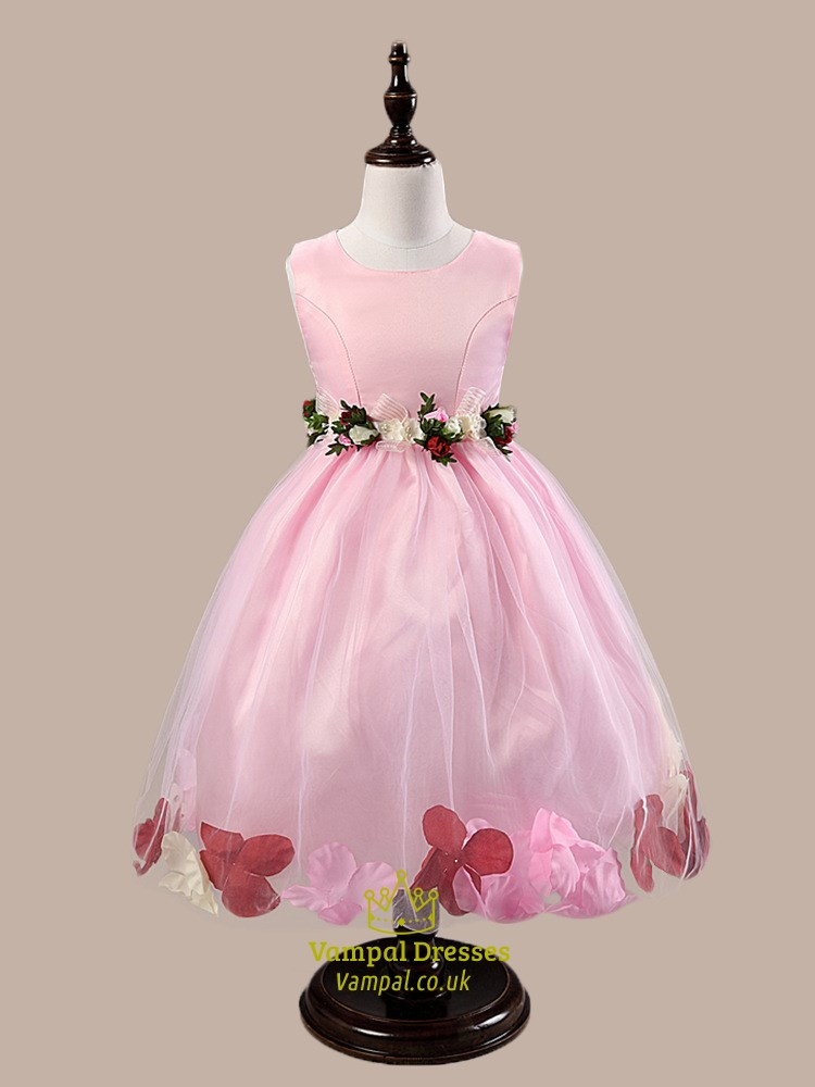 Pink Ball Gown Knee Length Flower Girl Dresses With Rose