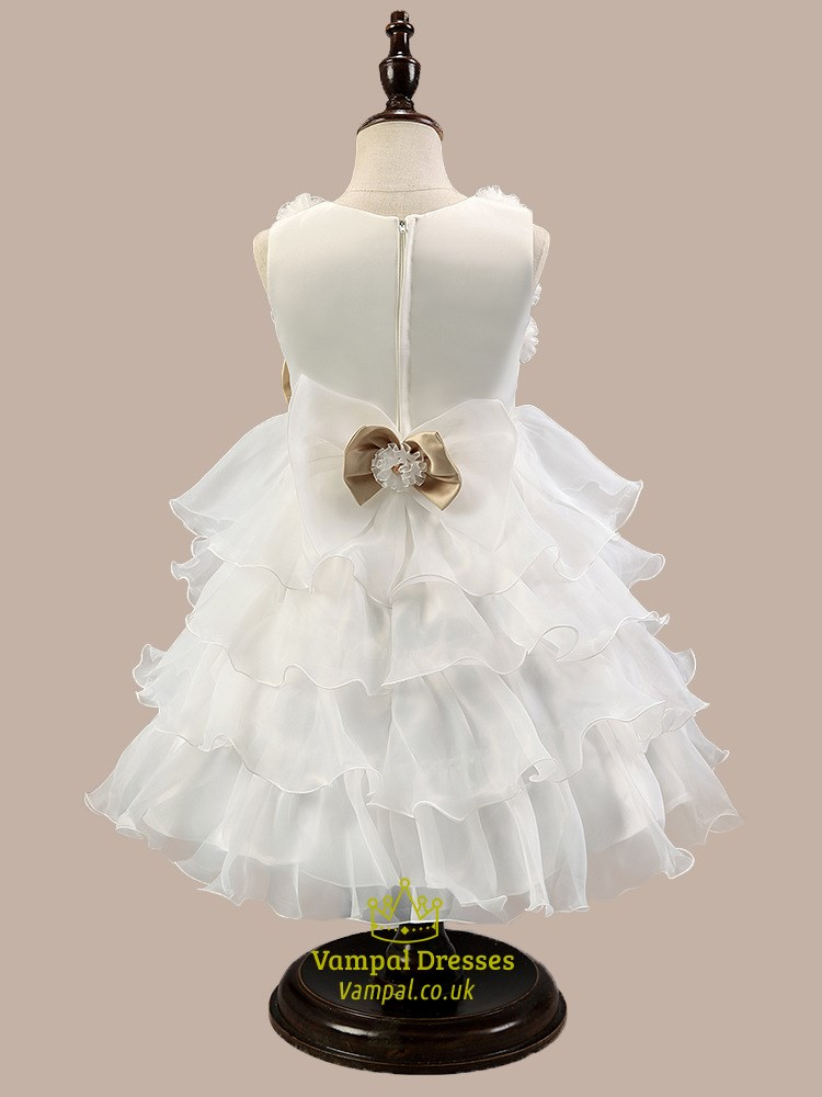 White Ball Gown Short Flower Girl Dress With Ruffles And