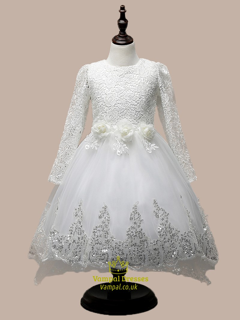 White Long Sleeve Lace Top Short Flower Girl Dress With Train