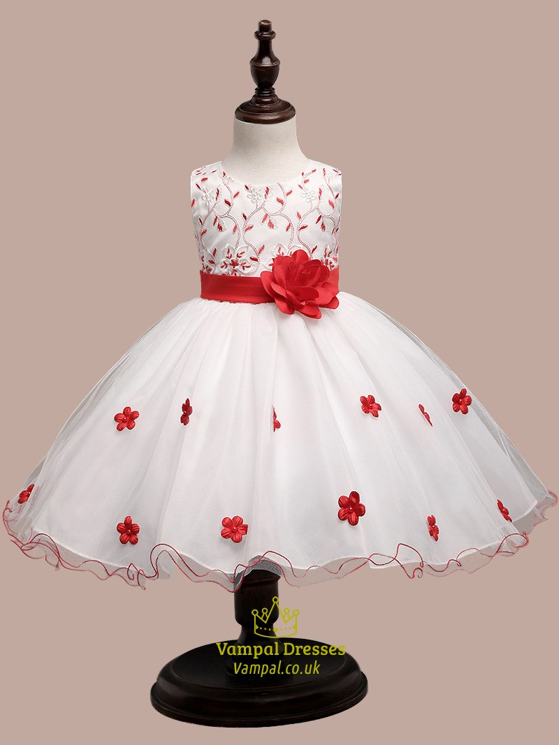 White Ball Gown Short Lace Top Flower Girl Dress With Flowers