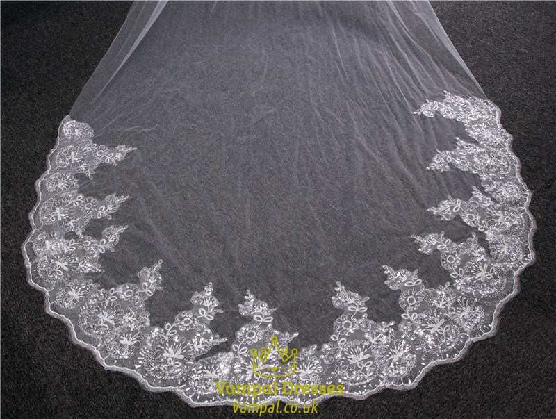 One tier cathedral bridal veils with lace applique sequin edge