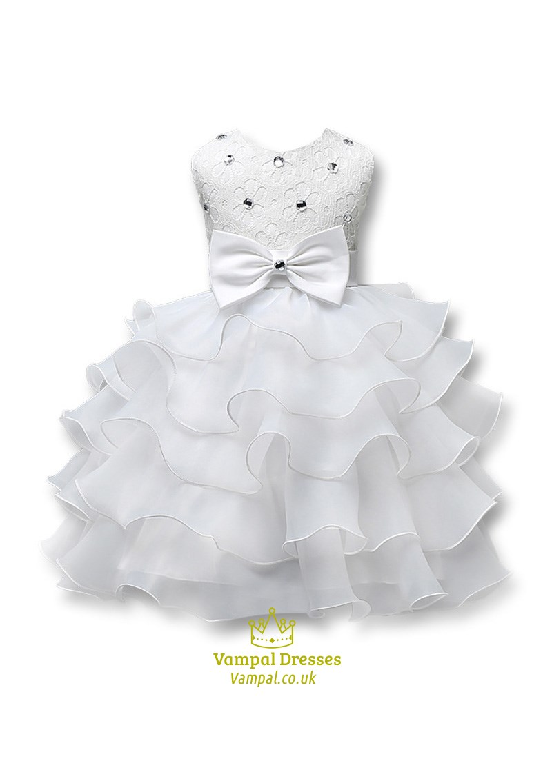 White Beaded Ball Gown Flower Girl Dress With Rhinestones And ...