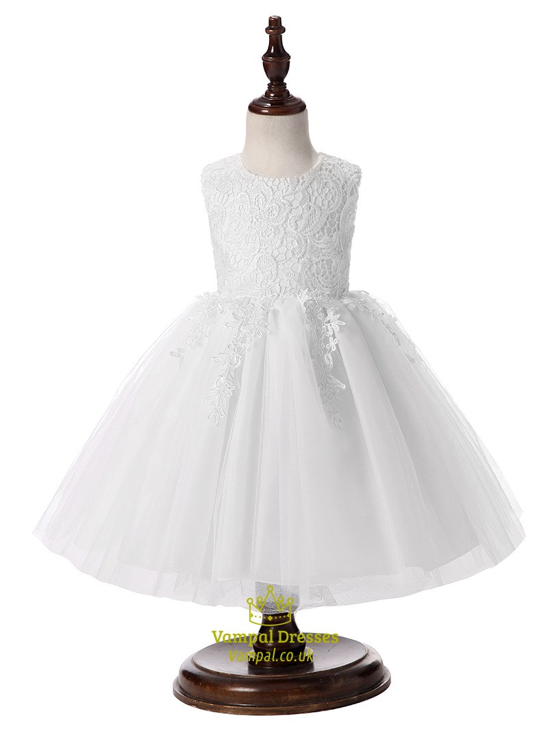 5b4fac3a14c White Ball Gown Knee Length Lace Top Flower Girl Dress SKU -H014