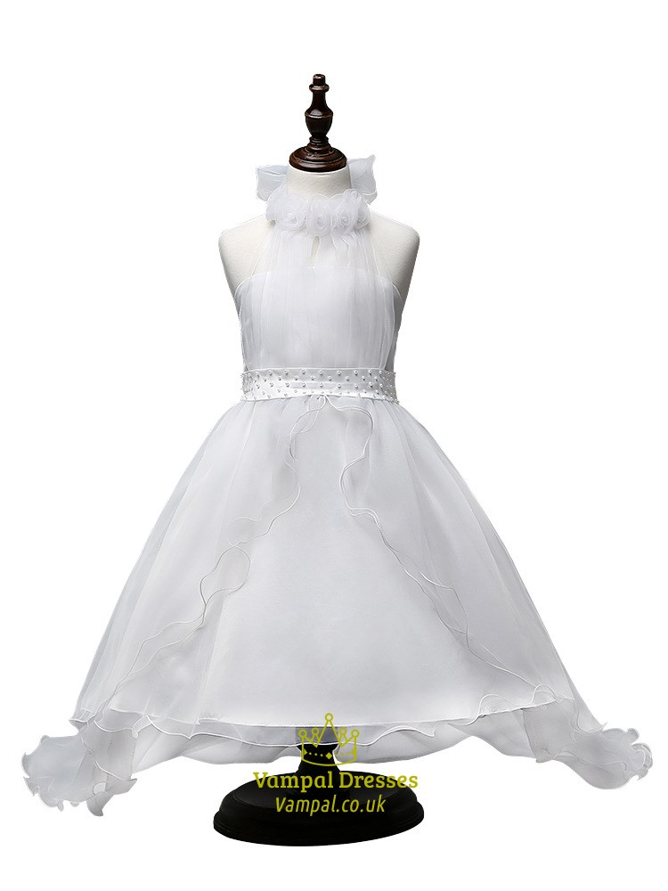 White ball gown halter neck flower girl dresses with train vampal white ball gown halter neck flower girl dresses with train mightylinksfo