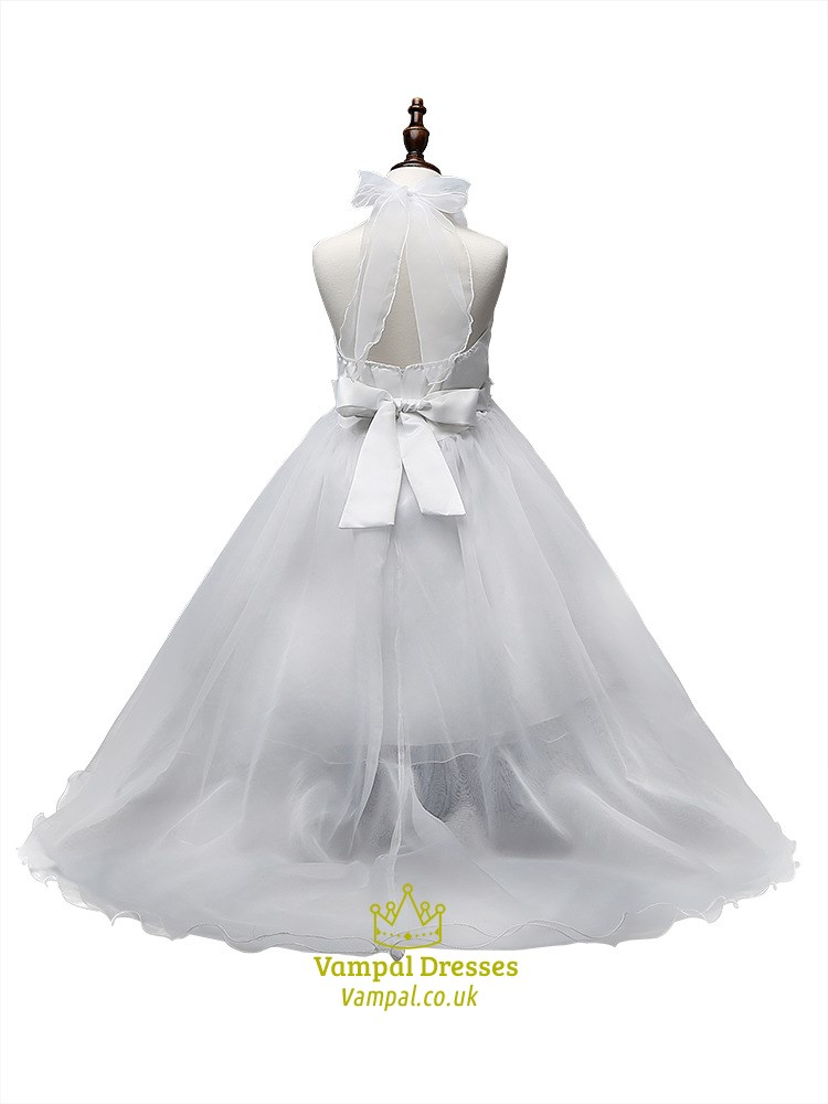 White Flower Girl Dresses With Train 12