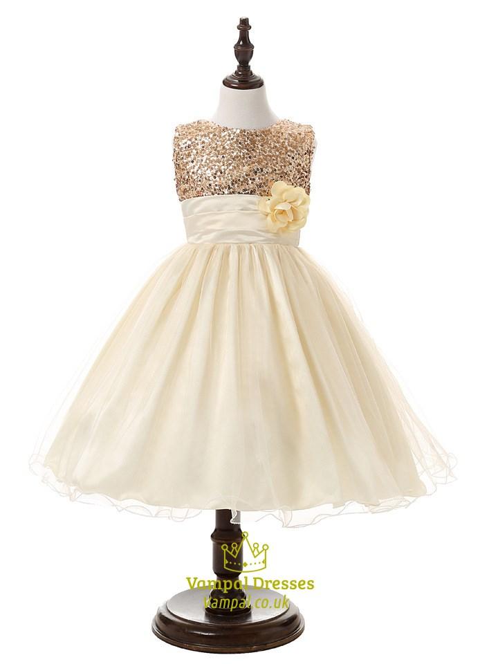 Light yellow a line sequin top short flower girl dress with flowers light yellow a line sequin top short flower girl dress with flowers mightylinksfo