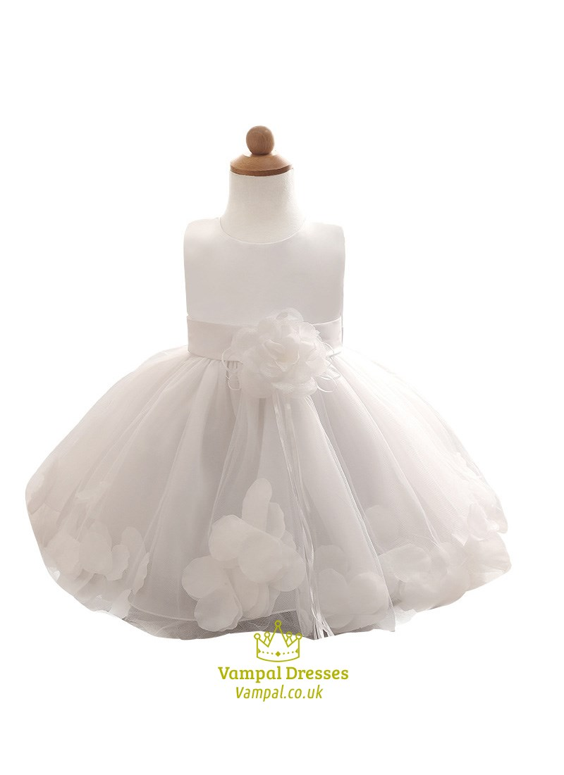 White Knee Length Flower Girl Dresses With Sash And Rose Petals