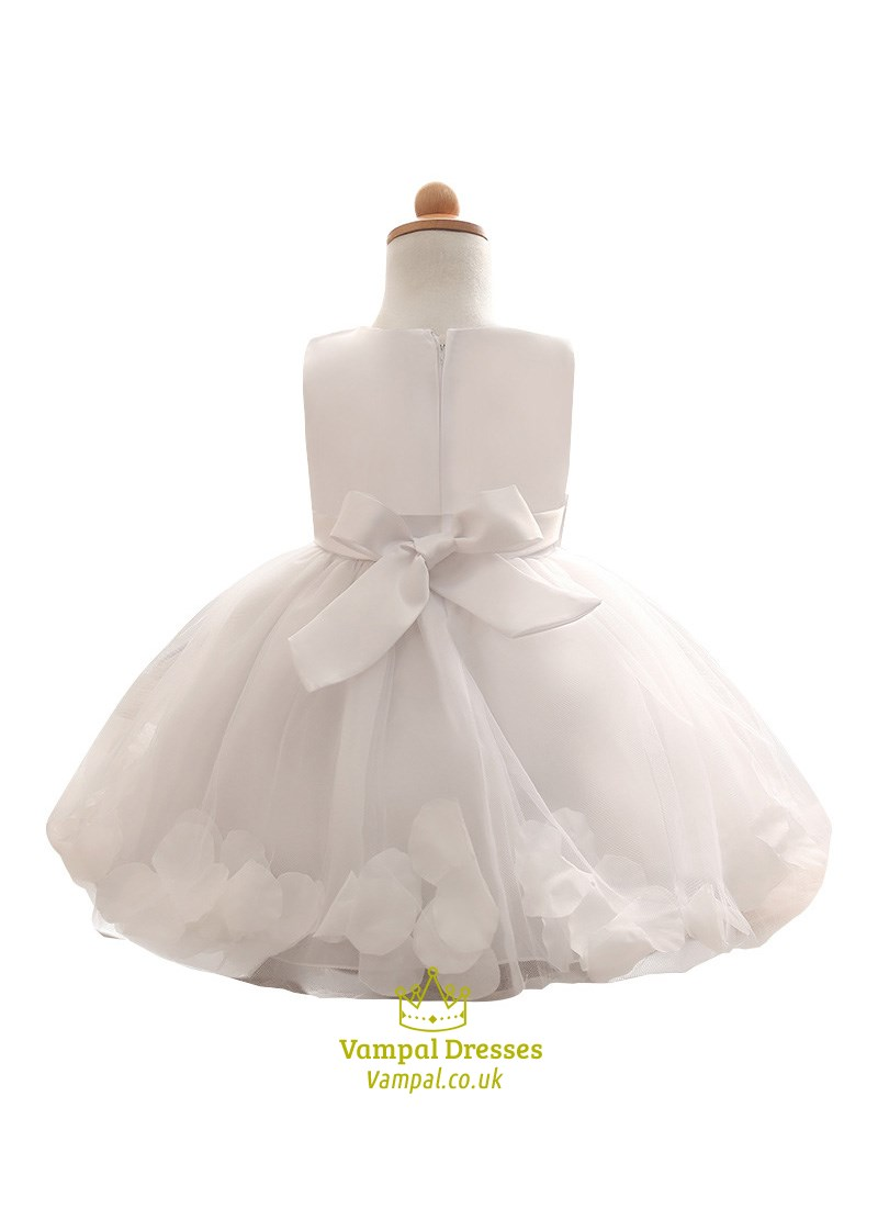515a6888b3d White Knee Length Flower Girl Dresses With Sash And Rose Petals ...