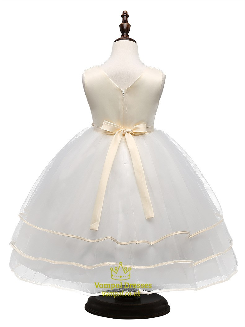 White Ball Gown Flower Girl Dresses 51