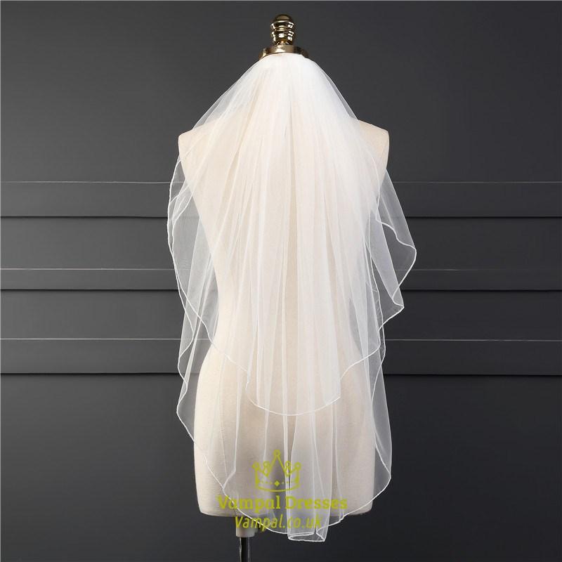 One Tier Simple Elbow Drop Wedding Bridal Veils