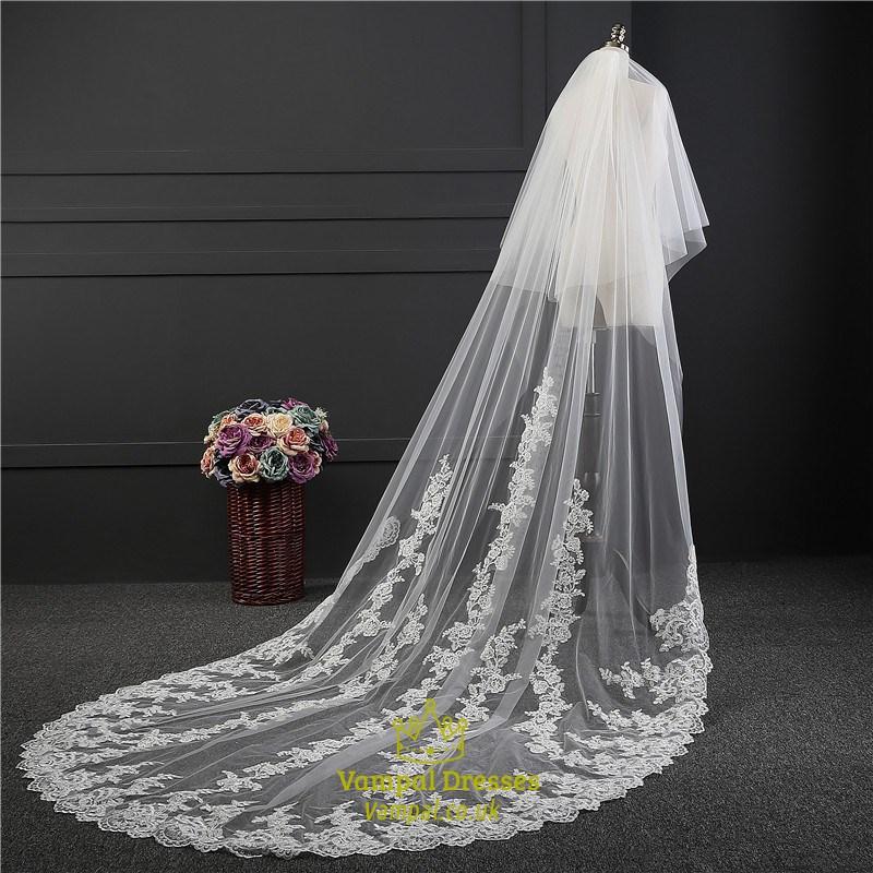 onetier lace applique edge drop chapel bridal veils with