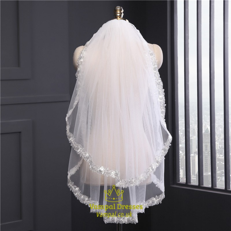 Two Tier Elbow Bridal Veils With Lace Applique Edge