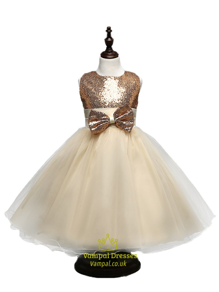 Champagne Sequin Top Ball Gown Knee Length Flower Girl Dress With ...
