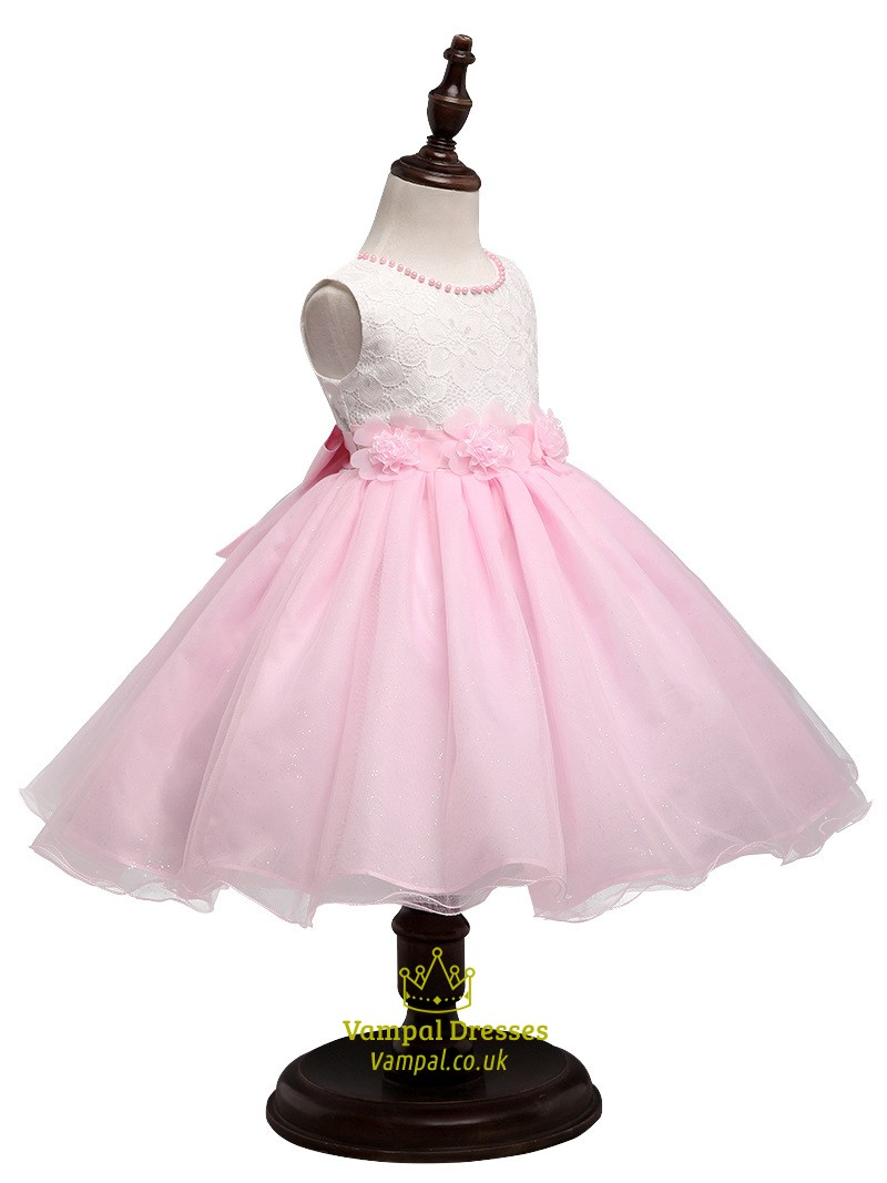 Pink Lace Top Ball Gown Short Flower Girl Dress With Flowers