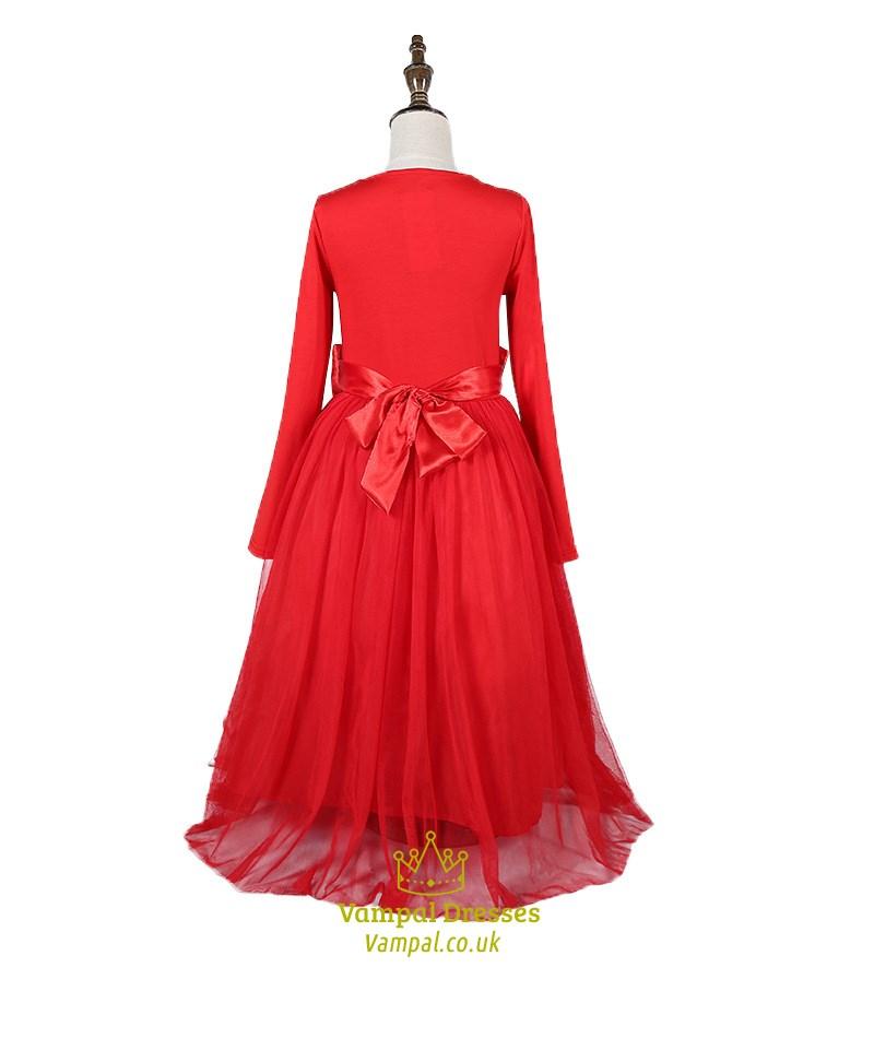 red long sleeve flower girl dresses