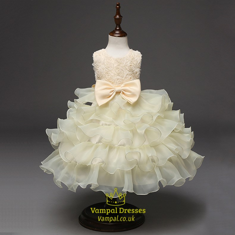 Champagne Short Ball Gown Flower Girl Dress With Flowers And Ruffles