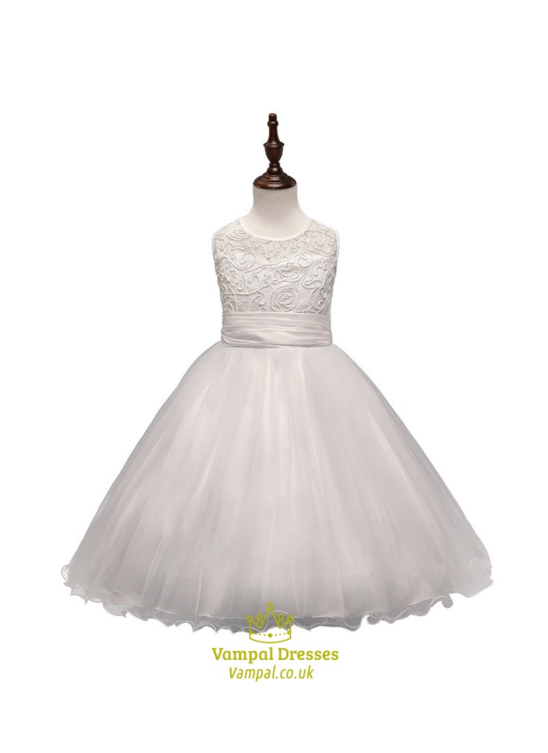 White A Line Lace Top Tulle Bottom Flower Girl Dress With Bow