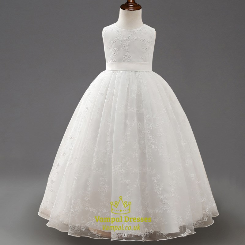 White Ball Gown Flower Girl Dresses 84