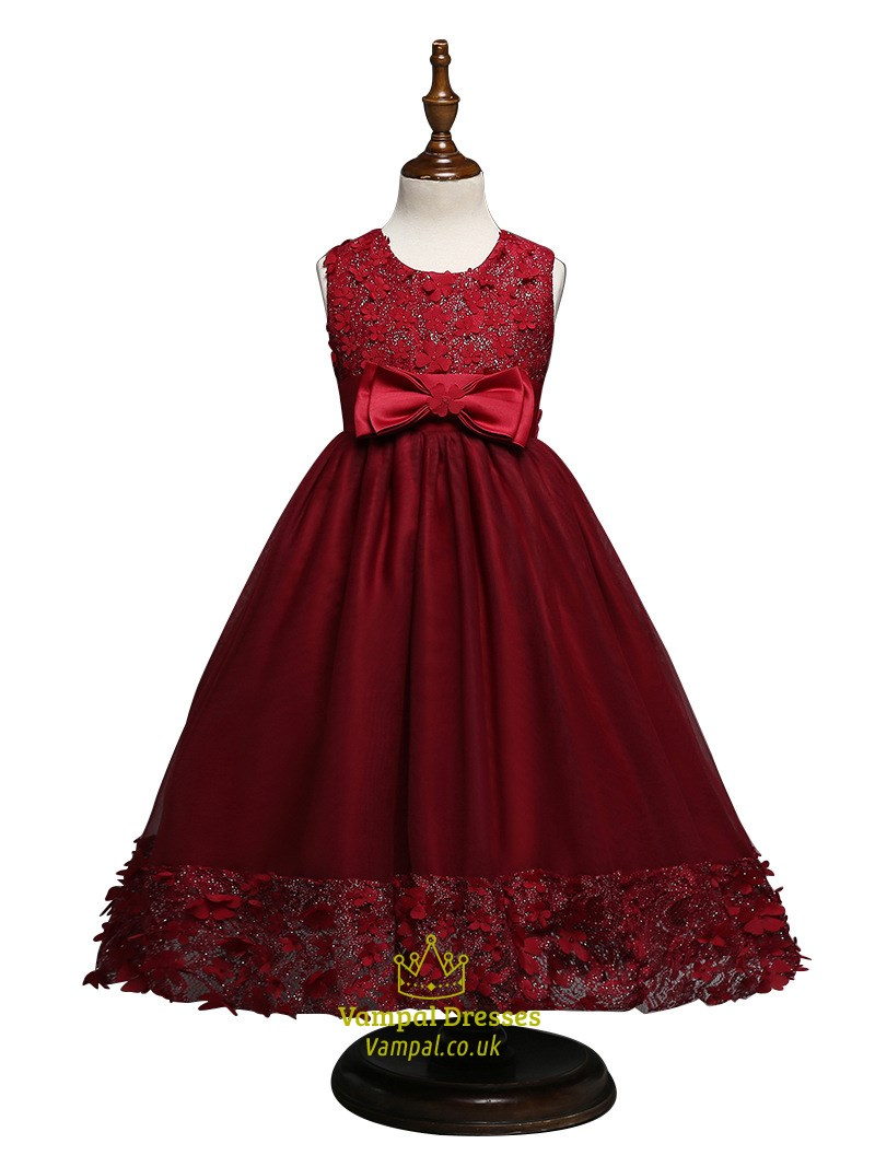 80a4fee4af Burgundy Tea Length Ball Gown Flower Girl Dress With Flower Appliques