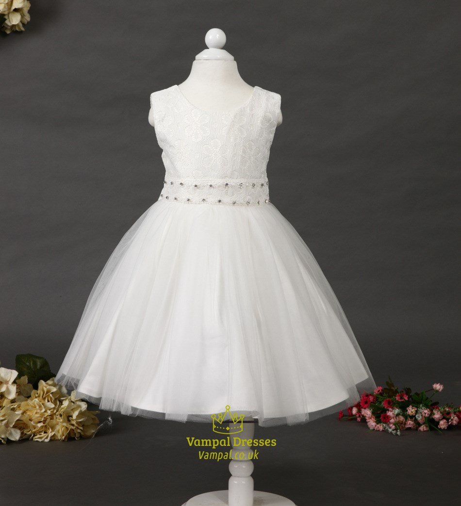446effc81c5 White A Line Lace Top Short Flower Girl Dress With Beaded Sash SKU -H066